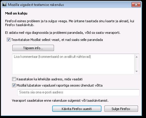 Mozilla vigadest teatamise rakendus
